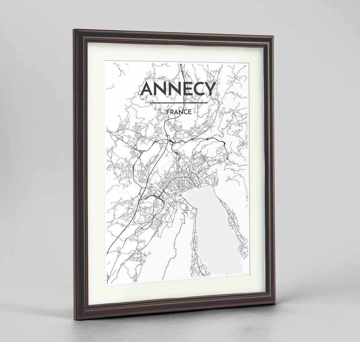"Framed Annecy Map Art Print 24x36"" Traditional Walnut frame Point Two Design Group"