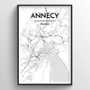Annecy Map Art Print - Point Two Design