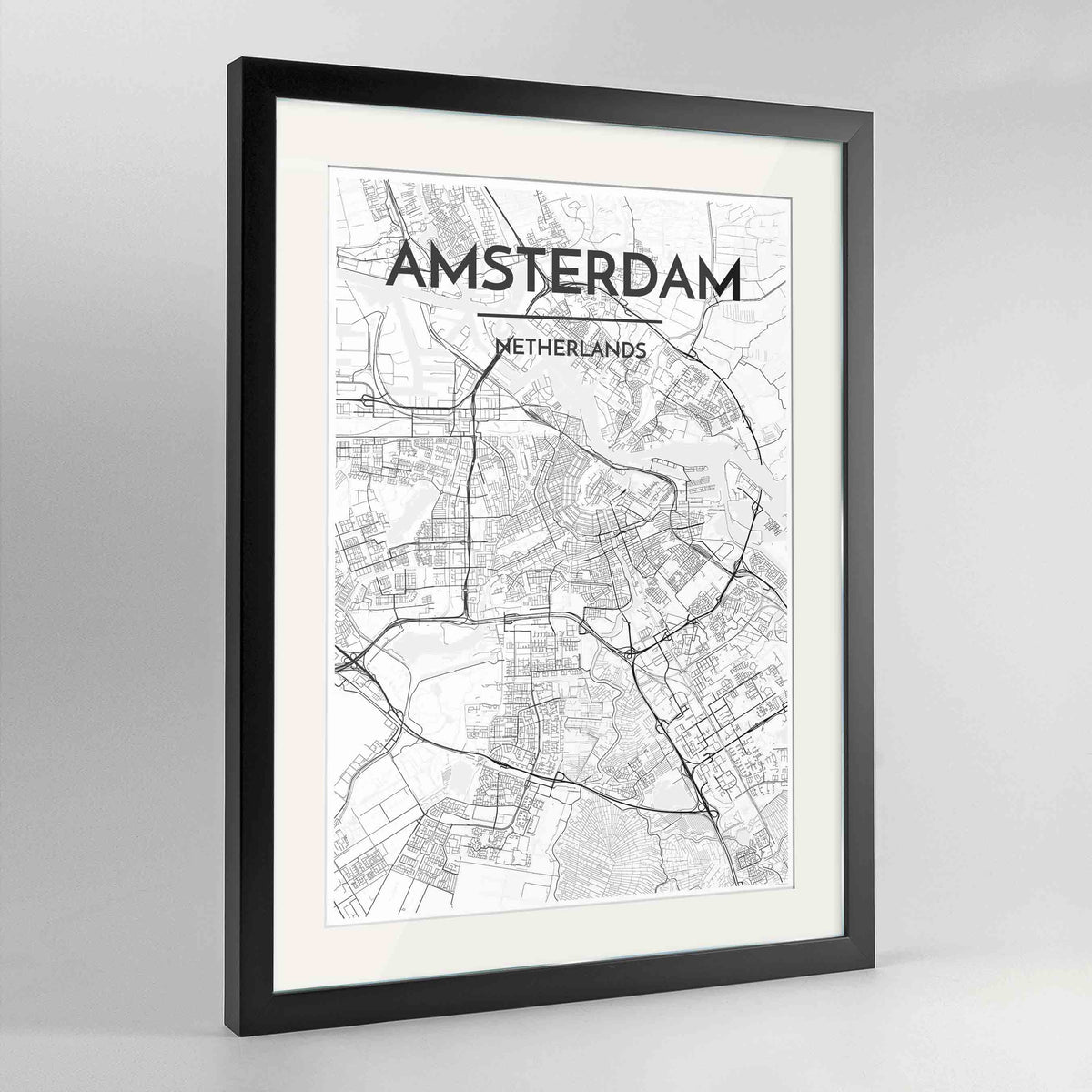 "Framed Amsterdam Map Art Print 24x36"" Contemporary Black frame Point Two Design Group"