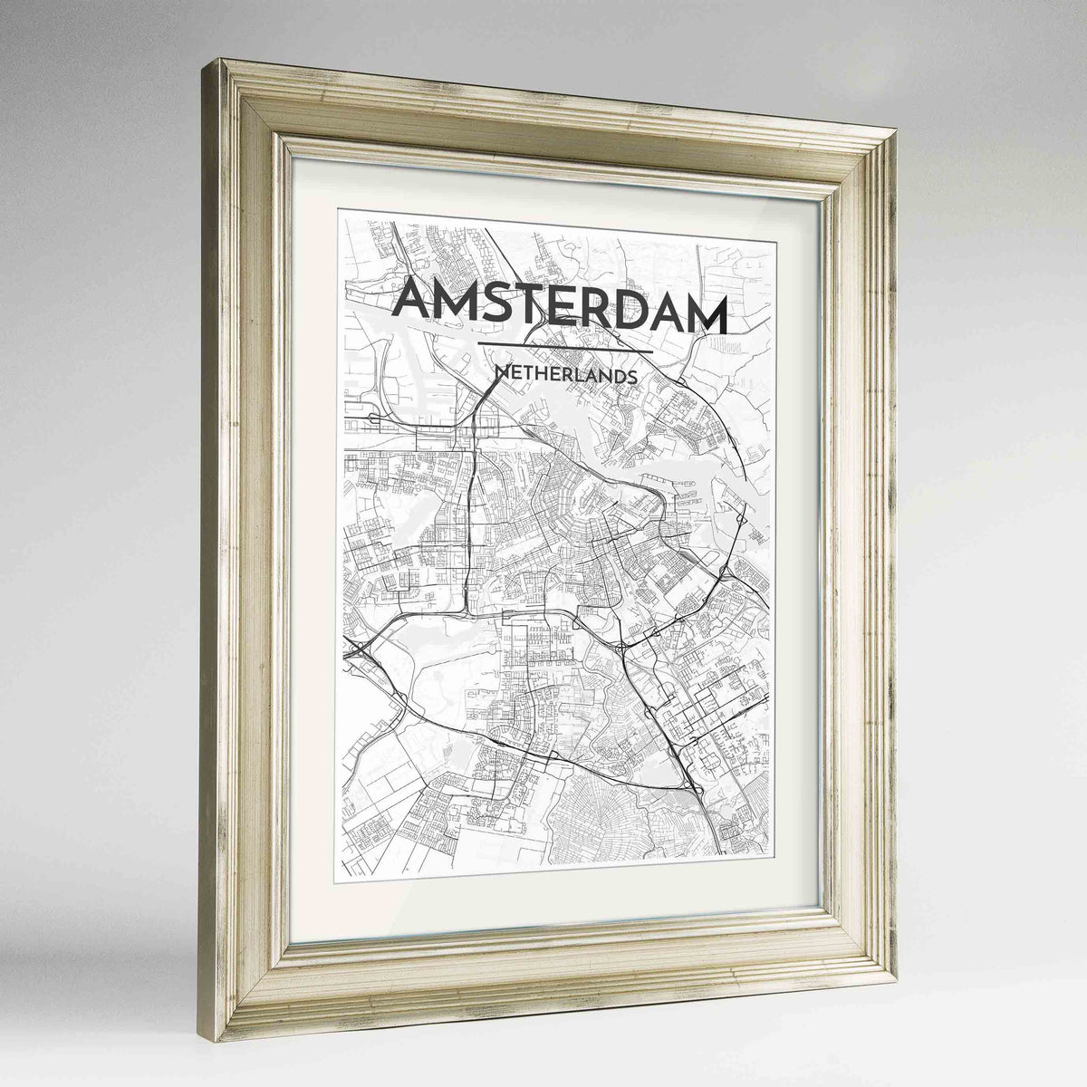 "Framed Amsterdam Map Art Print 24x36"" Champagne frame Point Two Design Group"