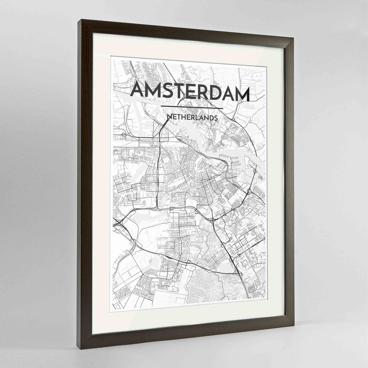 "Framed Amsterdam Map Art Print 24x36"" Contemporary Walnut frame Point Two Design Group"