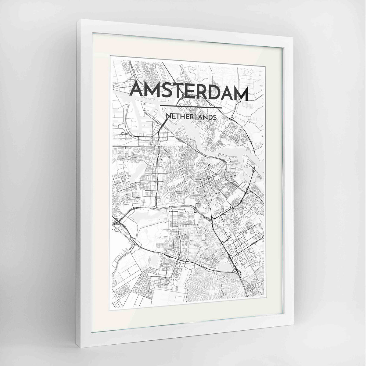 "Framed Amsterdam Map Art Print 24x36"" Contemporary White frame Point Two Design Group"