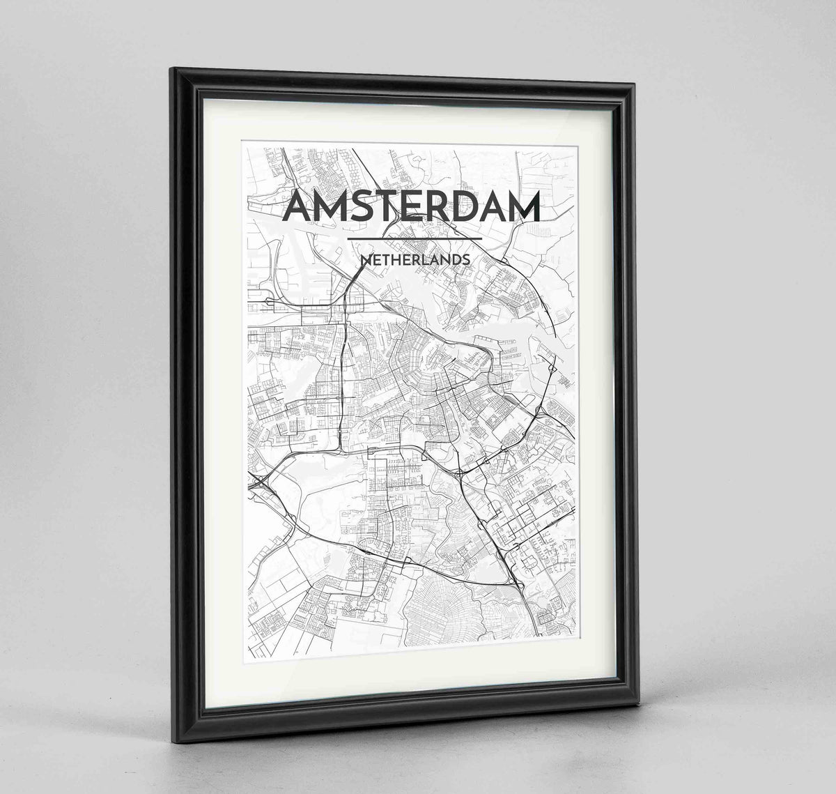 "Framed Amsterdam Map Art Print 24x36"" Traditional Black frame Point Two Design Group"