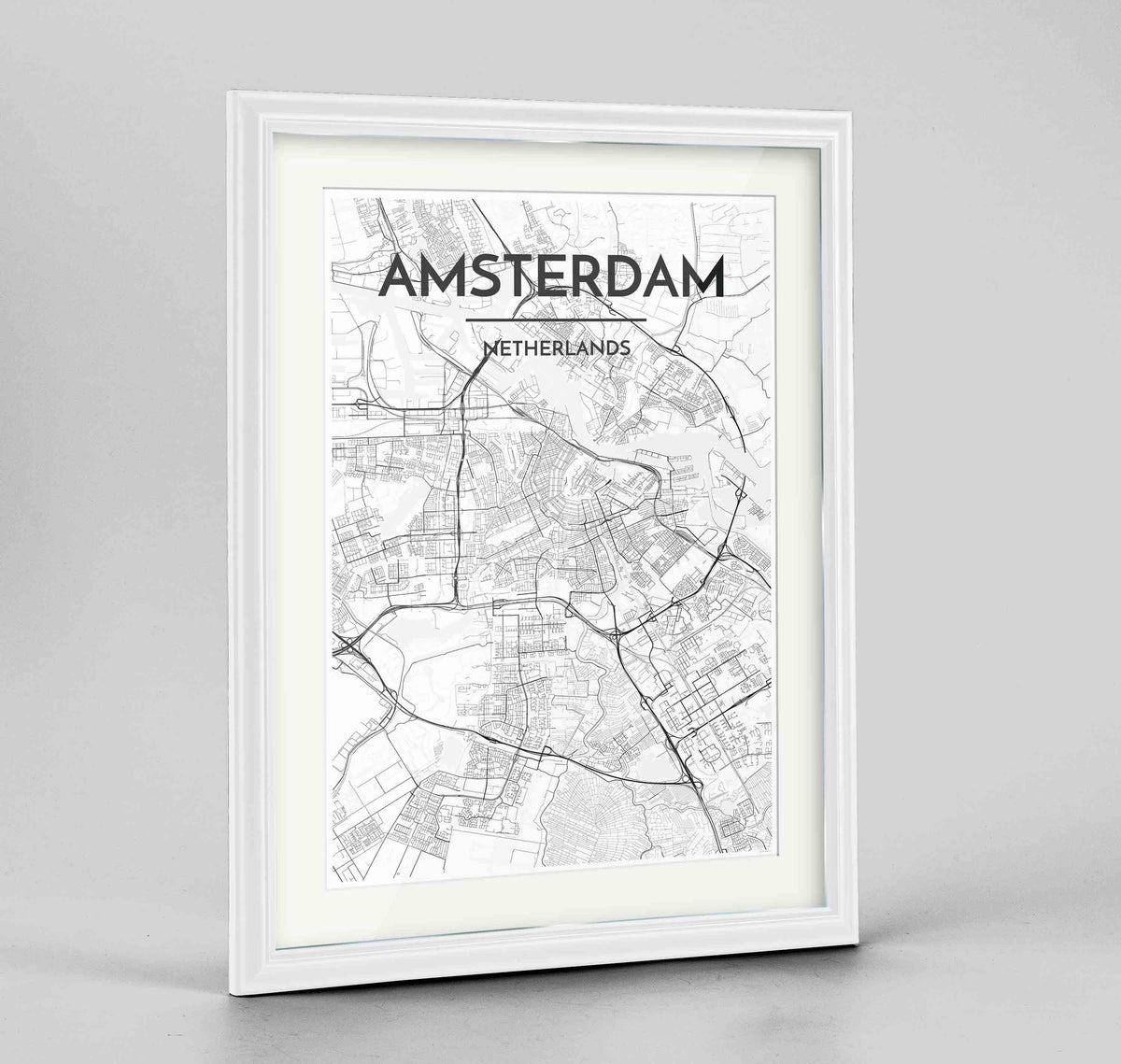 "Framed Amsterdam Map Art Print 24x36"" Traditional White frame Point Two Design Group"