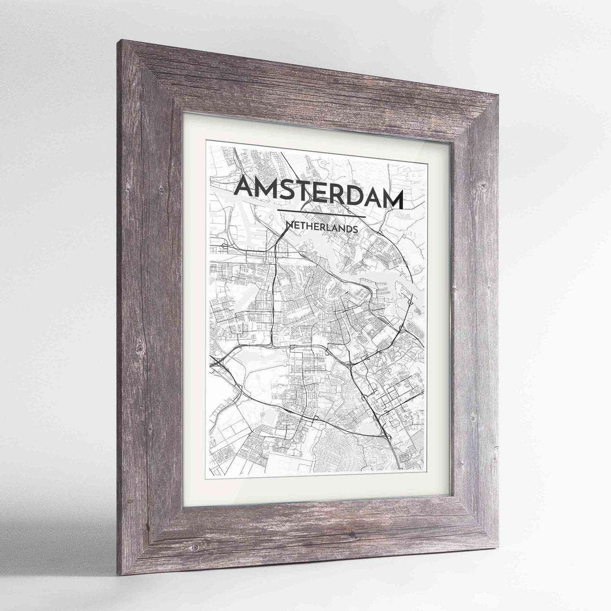 "Framed Amsterdam Map Art Print 24x36"" Western Grey frame Point Two Design Group"