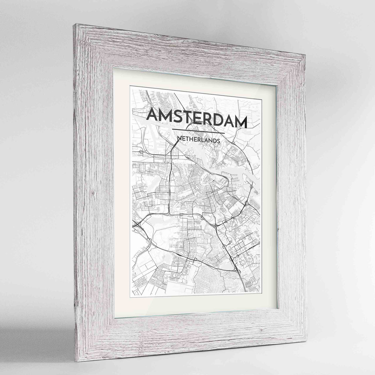 "Framed Amsterdam Map Art Print 24x36"" Western White frame Point Two Design Group"