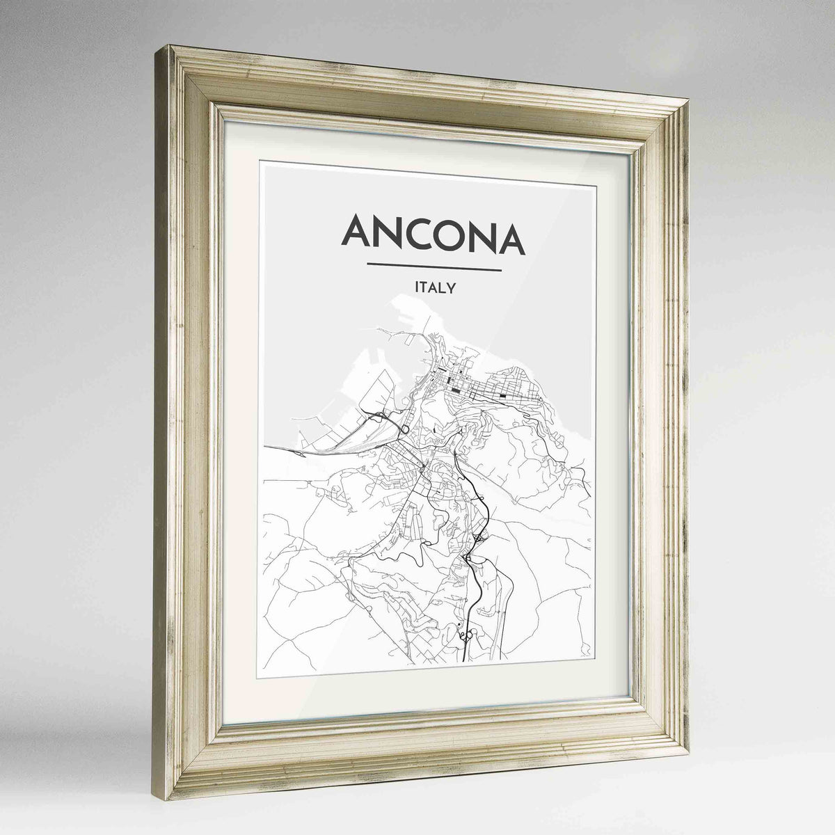 "Framed Ancona Map Art Print 24x36"" Champagne frame Point Two Design Group"
