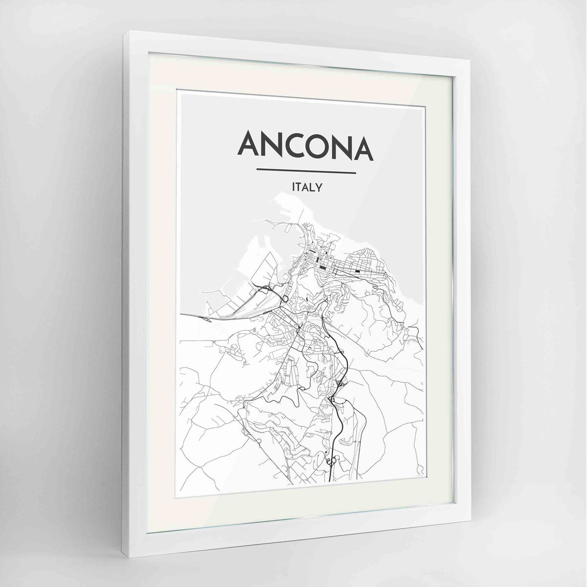 "Framed Ancona Map Art Print 24x36"" Contemporary White frame Point Two Design Group"