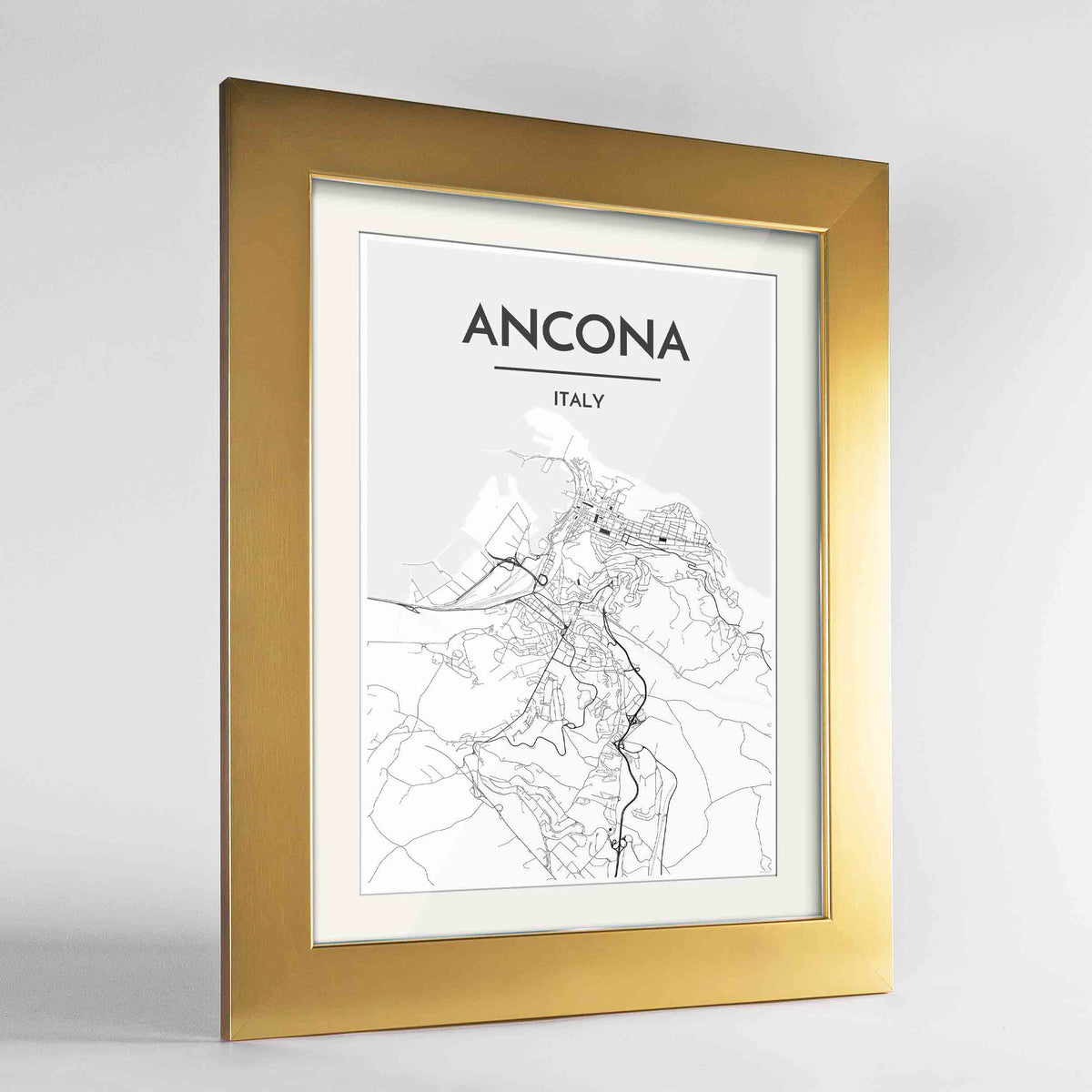 "Framed Ancona Map Art Print 24x36"" Gold frame Point Two Design Group"