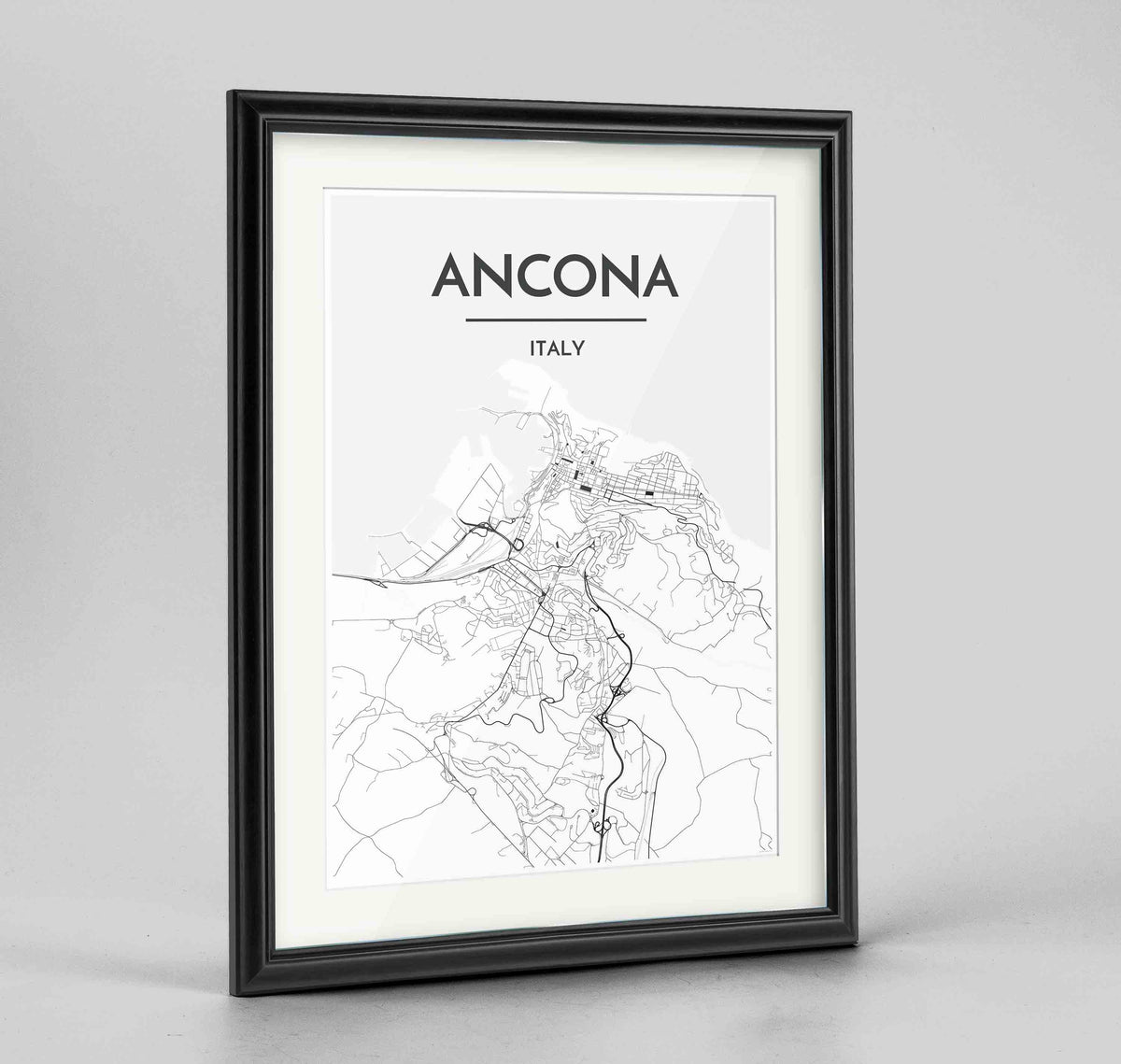 "Framed Ancona Map Art Print 24x36"" Traditional Black frame Point Two Design Group"