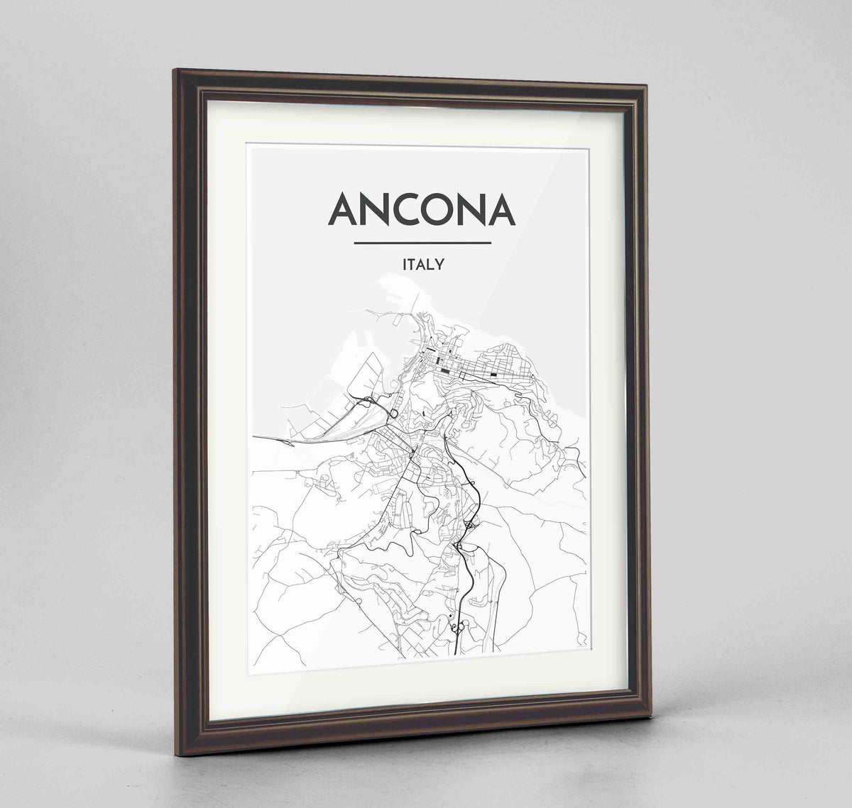 "Framed Ancona Map Art Print 24x36"" Traditional Walnut frame Point Two Design Group"