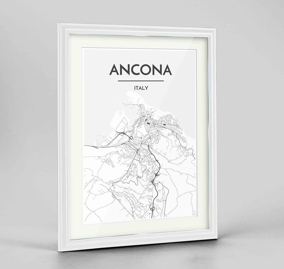 "Framed Ancona Map Art Print 24x36"" Traditional White frame Point Two Design Group"