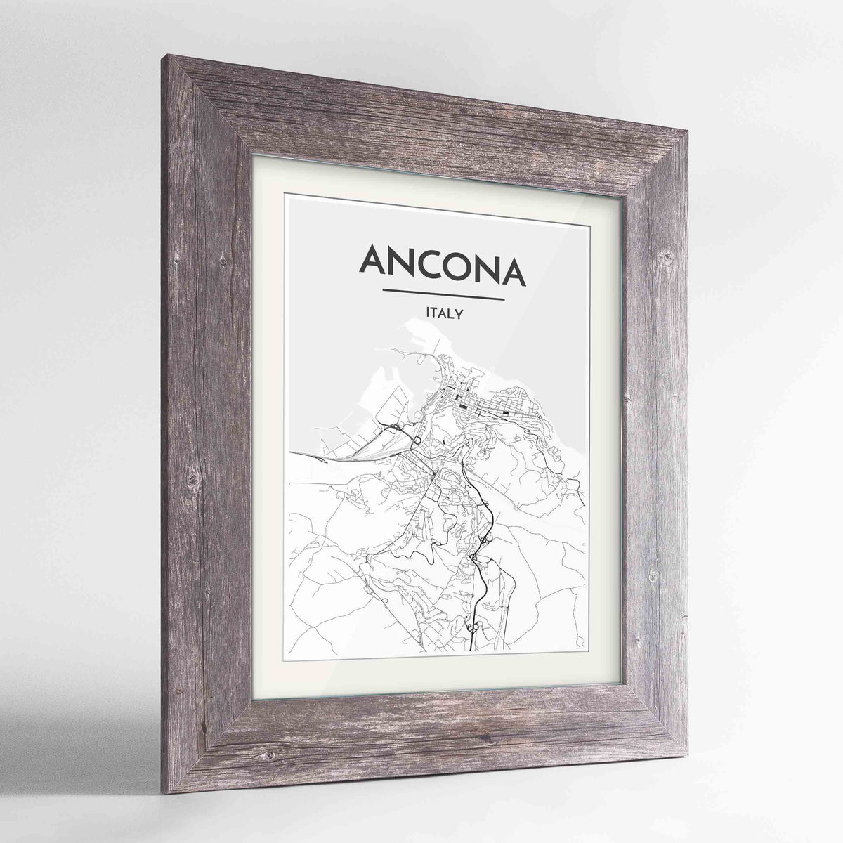 "Framed Ancona Map Art Print 24x36"" Western Grey frame Point Two Design Group"