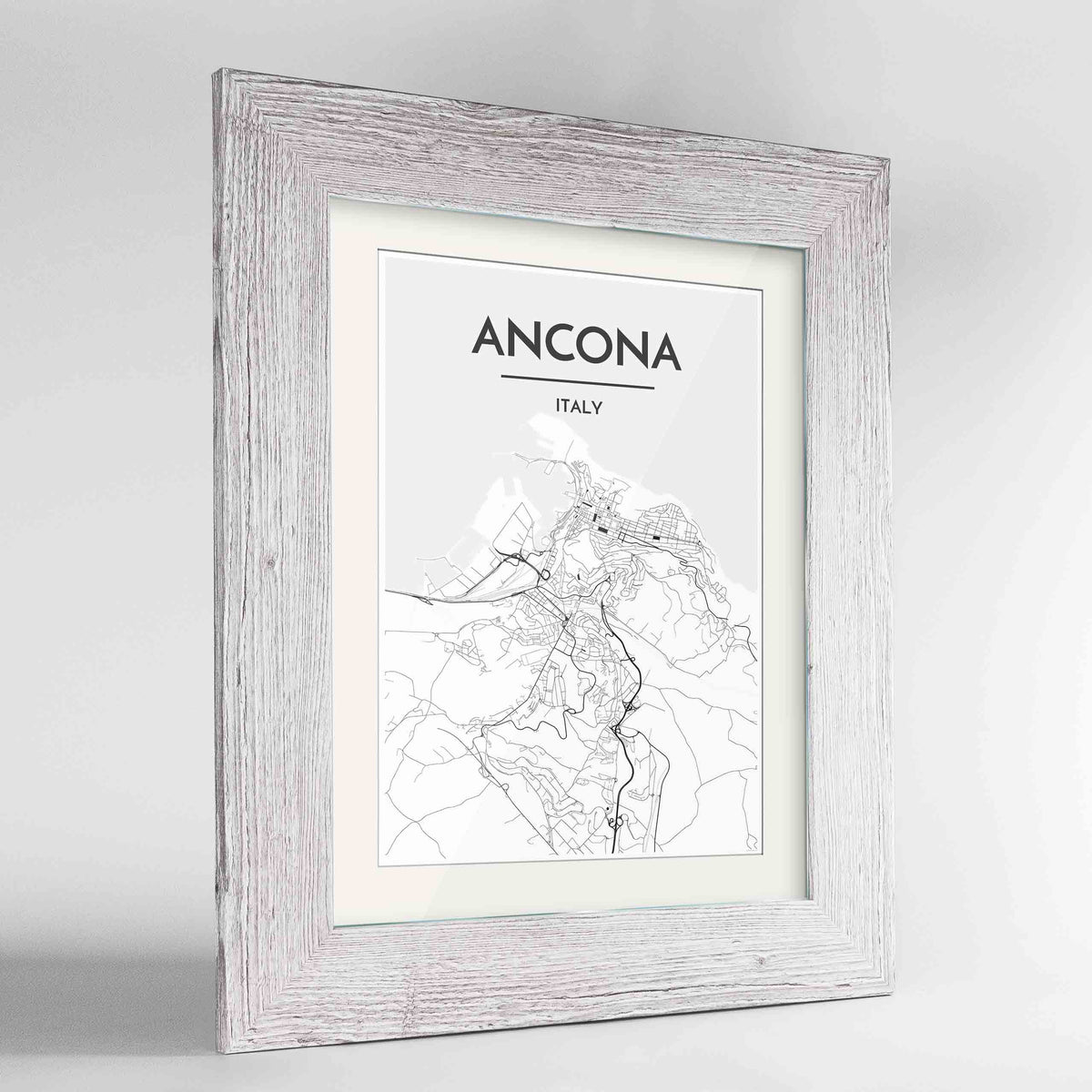 "Framed Ancona Map Art Print 24x36"" Western White frame Point Two Design Group"
