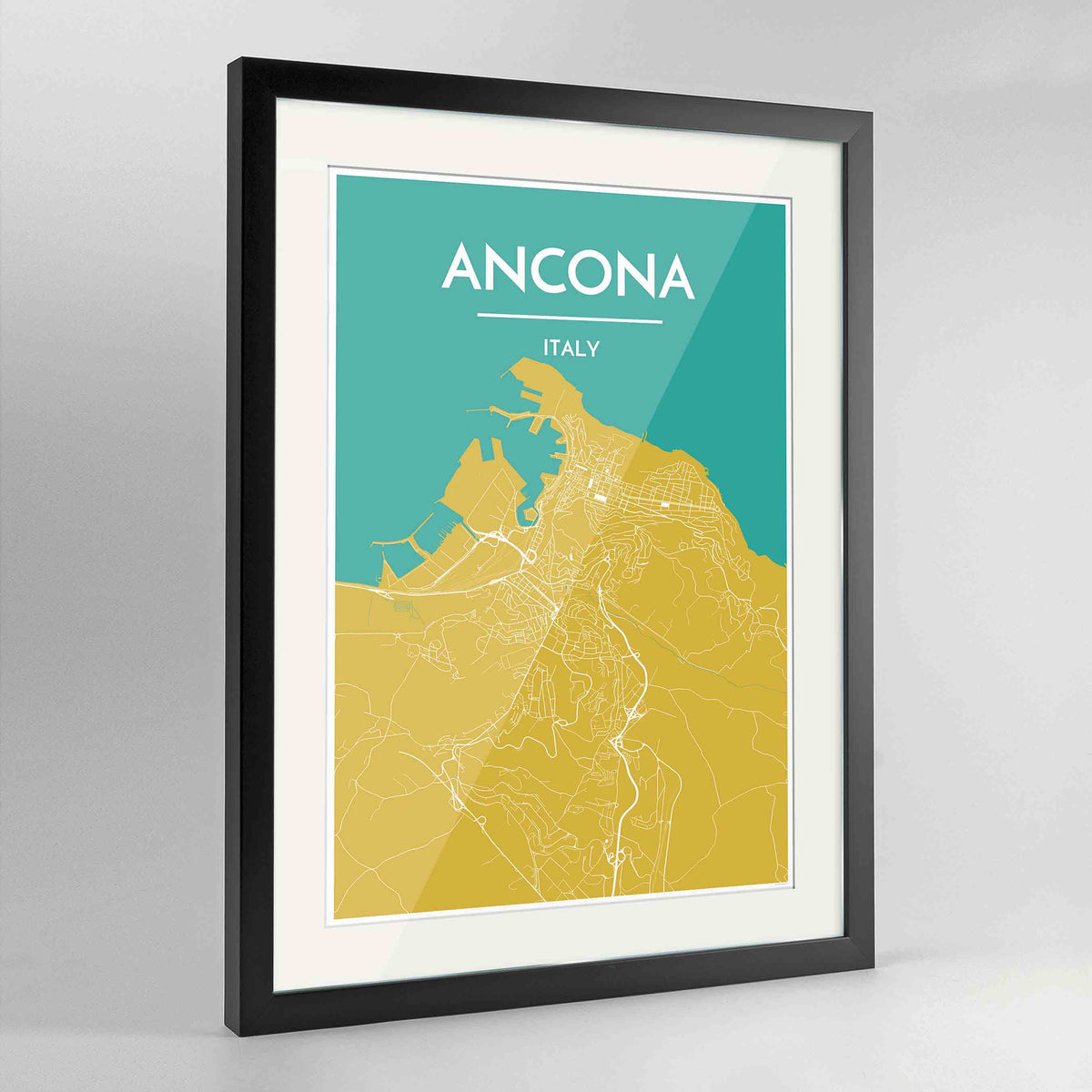 "Framed Ancona Map Art Print 24x36"" Contemporary Black frame Point Two Design Group"