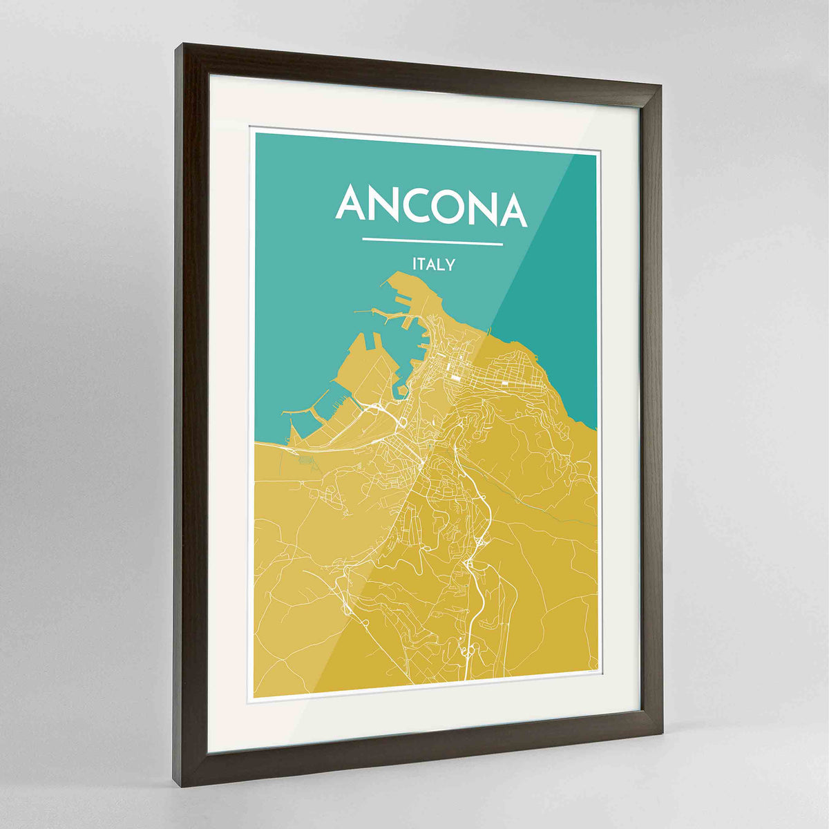 "Framed Ancona Map Art Print 24x36"" Contemporary Walnut frame Point Two Design Group"