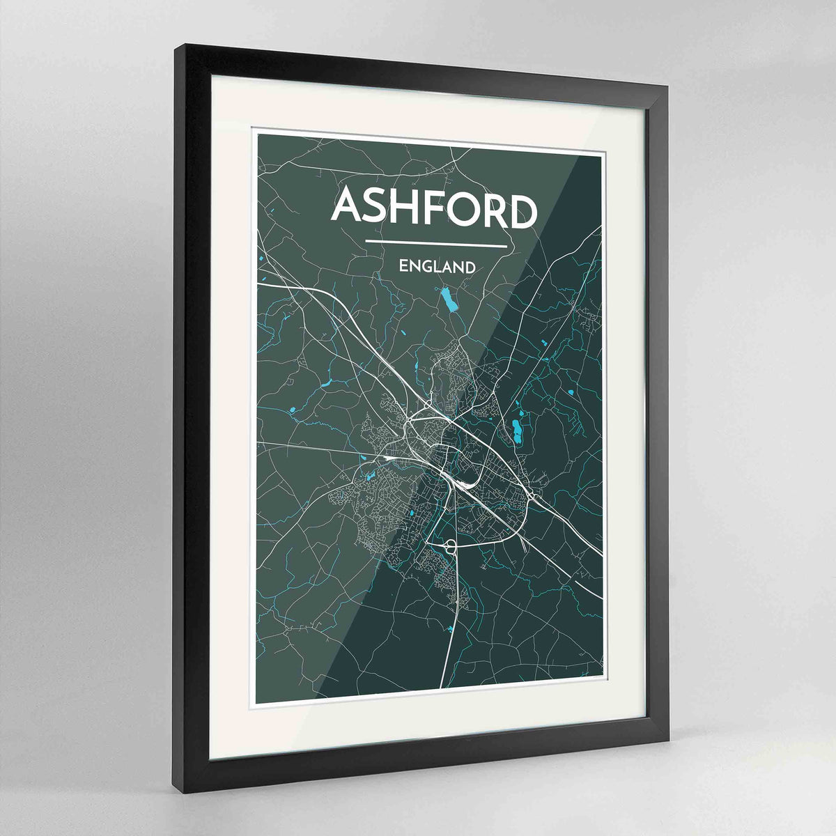 "Framed Ashford Map Art Print 24x36"" Contemporary Black frame Point Two Design Group"