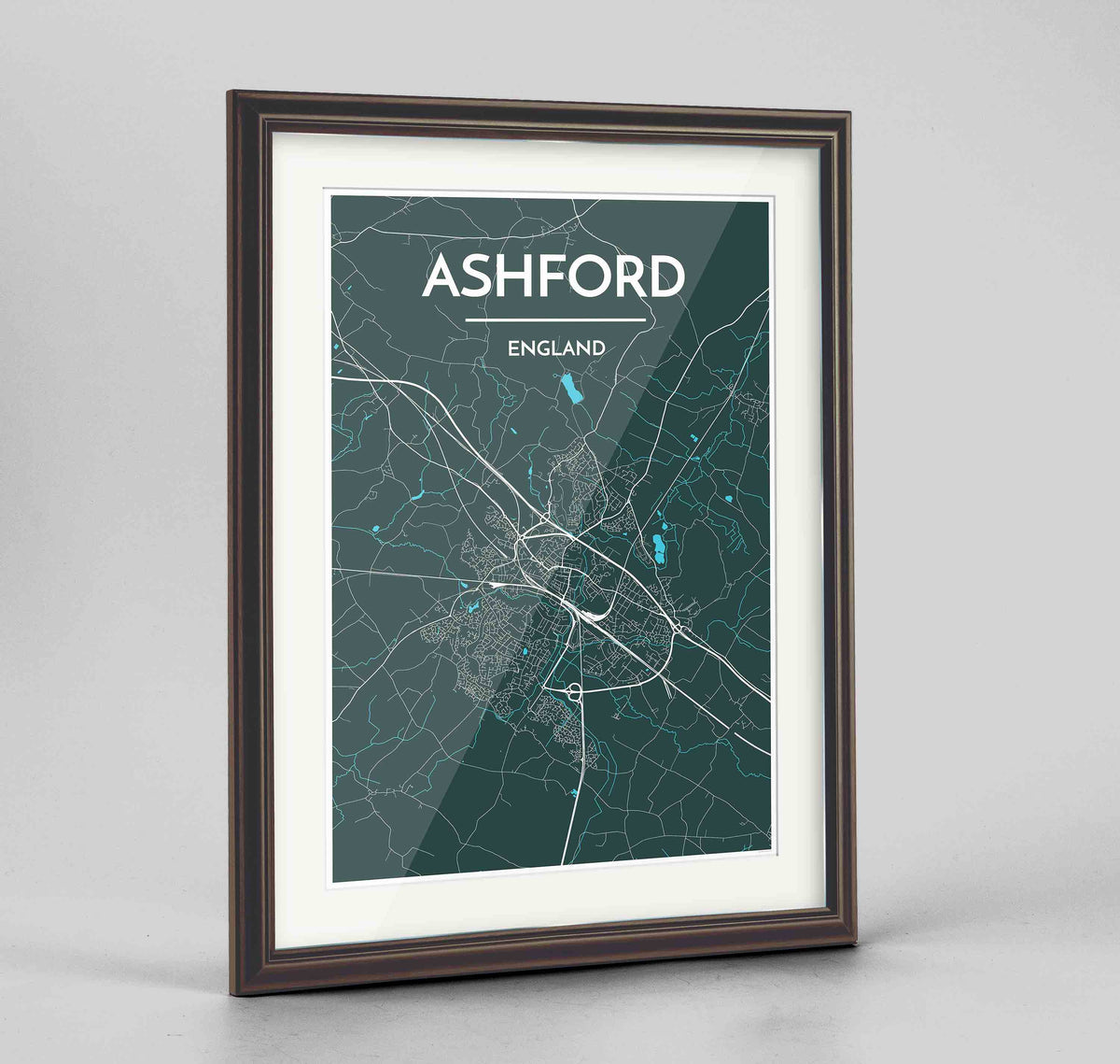 "Framed Ashford Map Art Print 24x36"" Traditional Walnut frame Point Two Design Group"