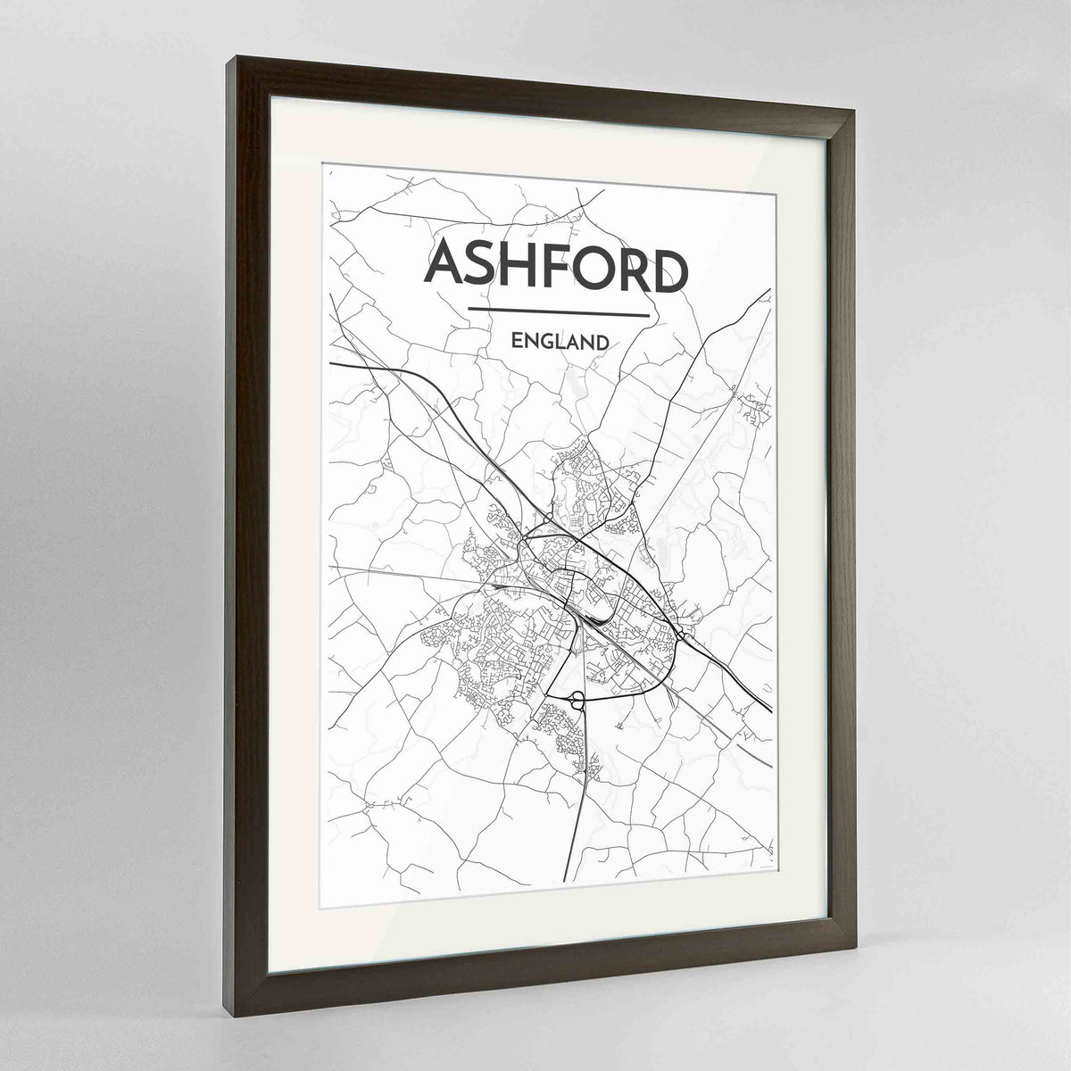 "Framed Ashford Map Art Print 24x36"" Contemporary Walnut frame Point Two Design Group"
