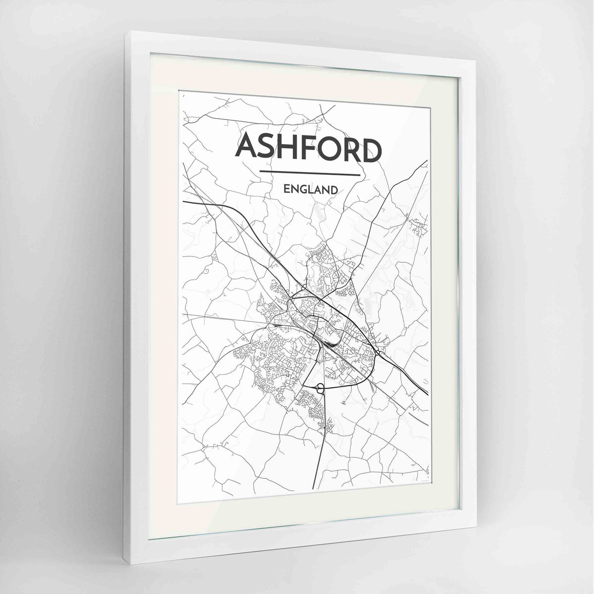 "Framed Ashford Map Art Print 24x36"" Contemporary White frame Point Two Design Group"