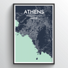 Athens City Map Art Print - Point Two Design