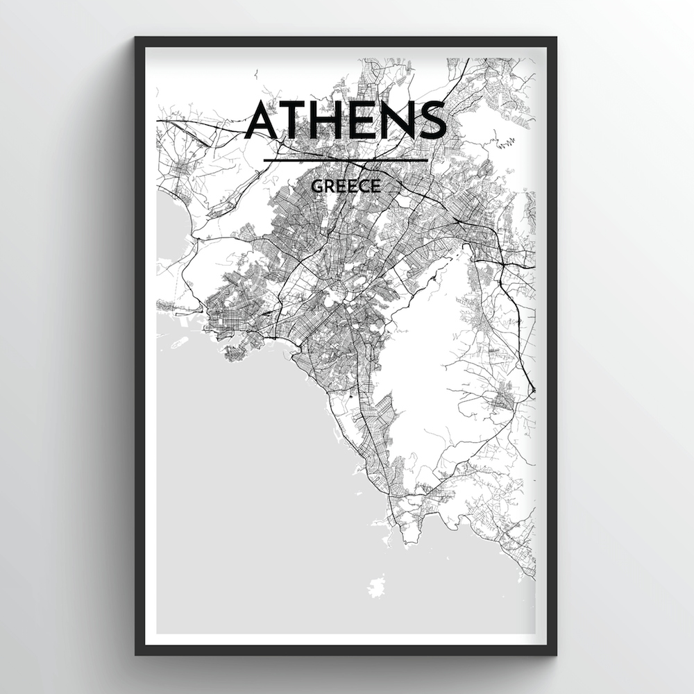 Athens Map Art Print - Point Two Design