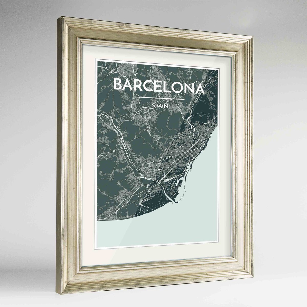 "Framed Barcelona Map Art Print 24x36"" Champagne frame Point Two Design Group"