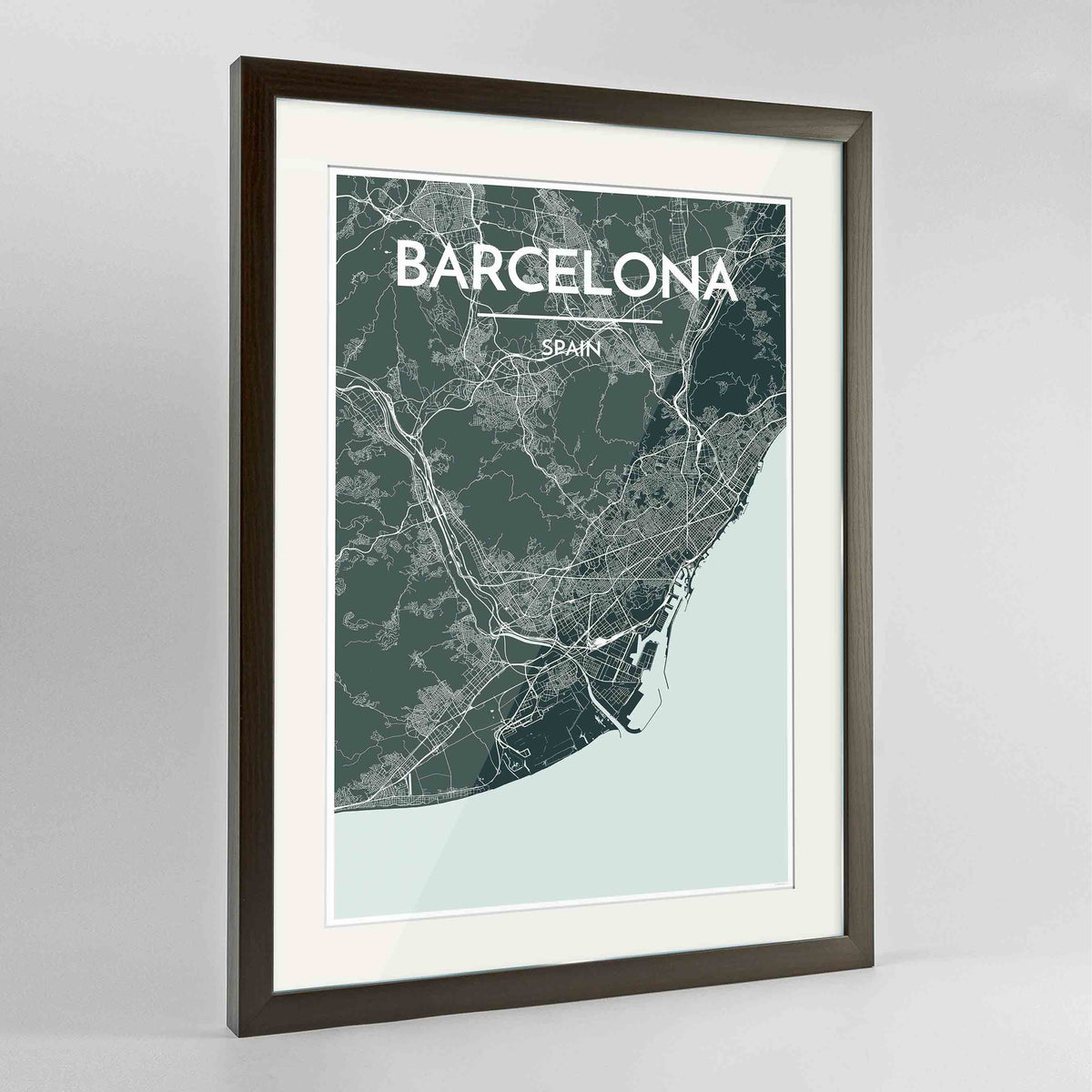 "Framed Barcelona Map Art Print 24x36"" Contemporary Walnut frame Point Two Design Group"