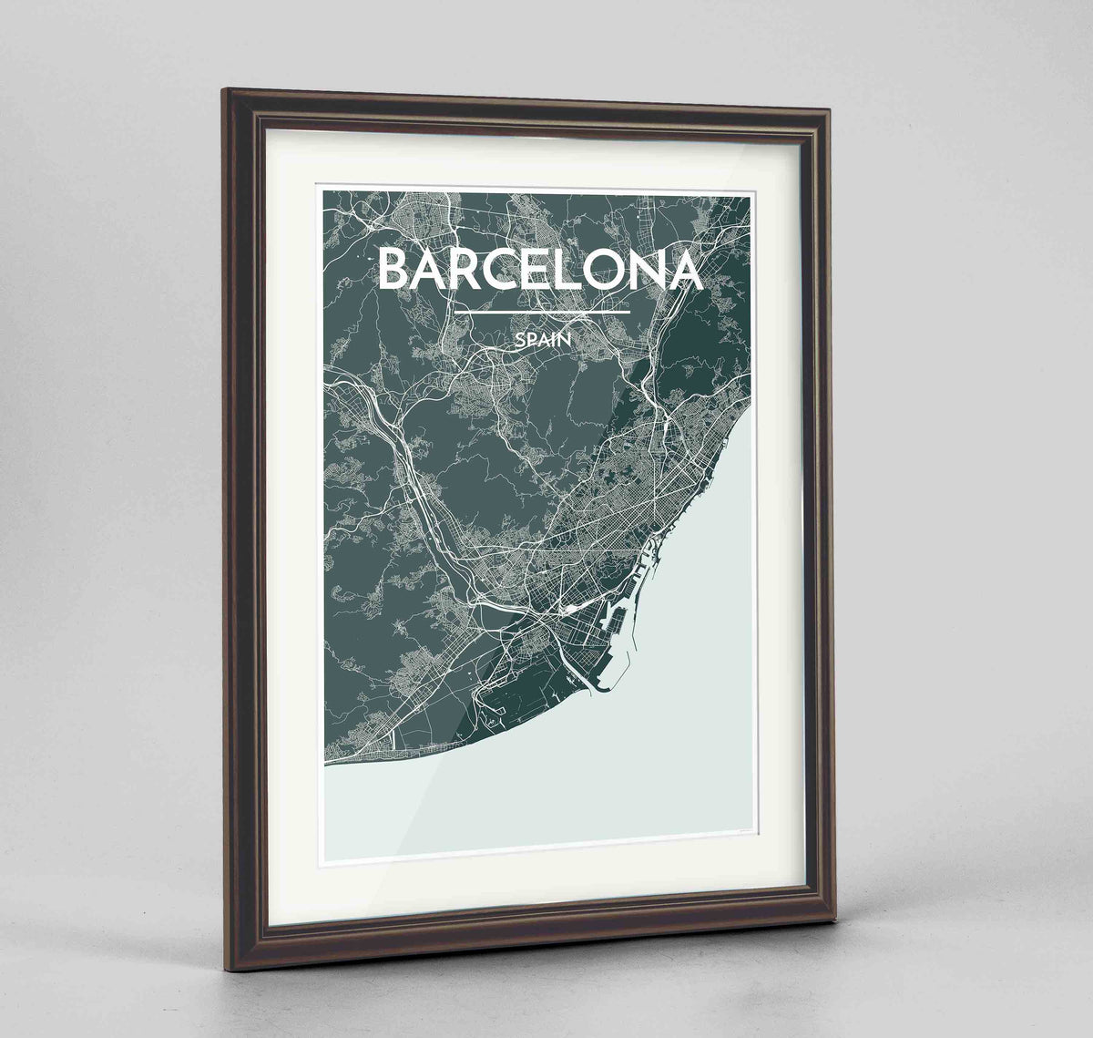 "Framed Barcelona Map Art Print 24x36"" Traditional Walnut frame Point Two Design Group"