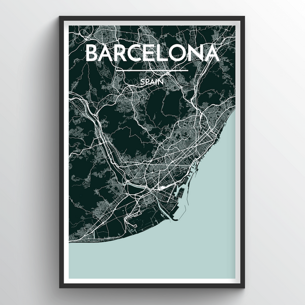 Barcelona Map Art Print - Point Two Design
