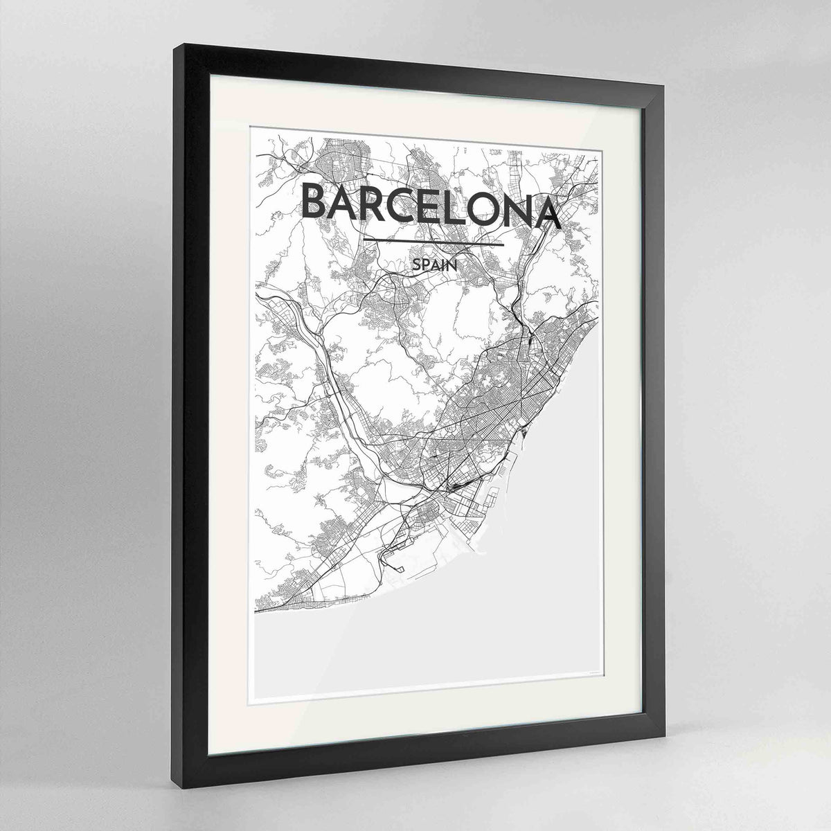 "Framed Barcelona Map Art Print 24x36"" Contemporary Black frame Point Two Design Group"