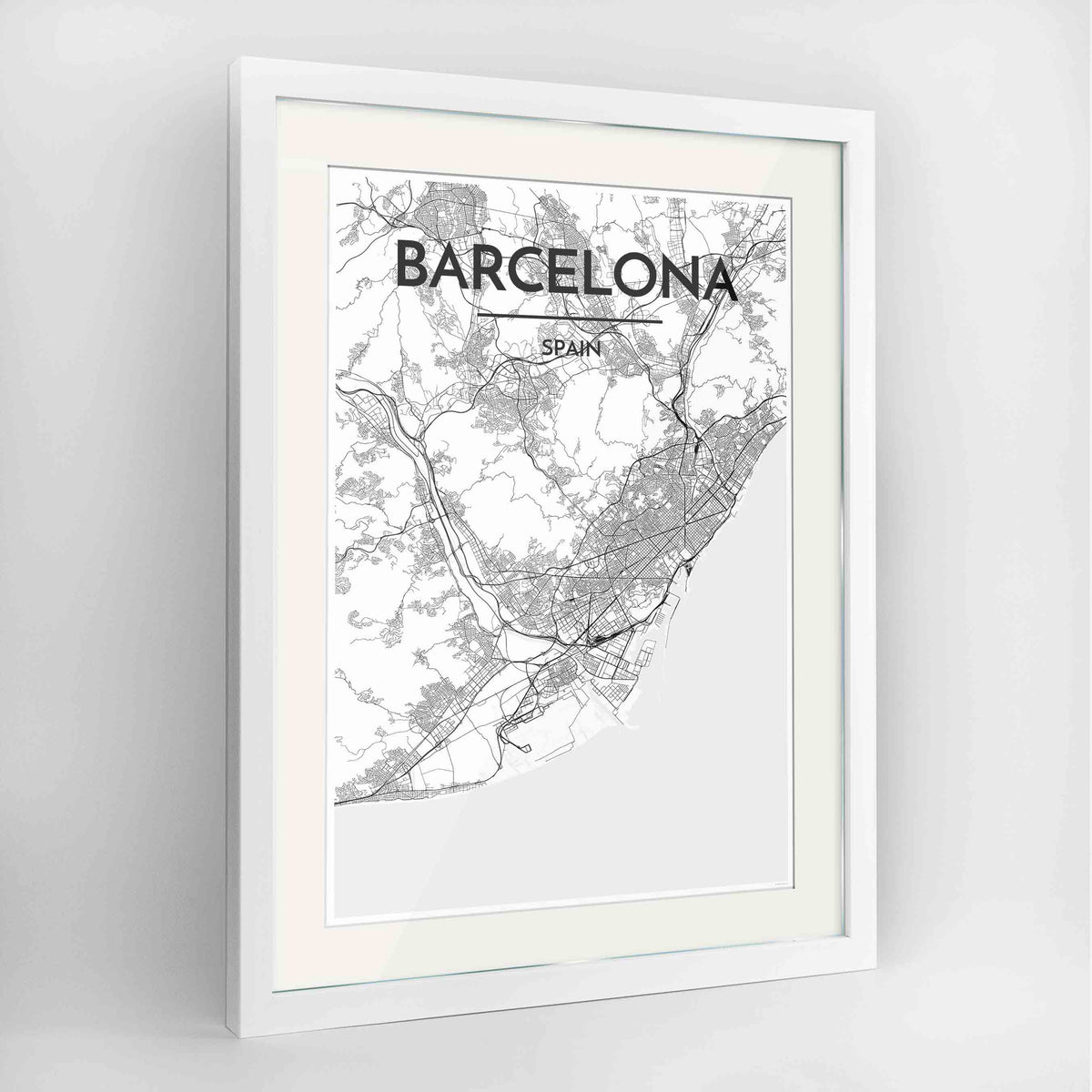 "Framed Barcelona Map Art Print 24x36"" Contemporary White frame Point Two Design Group"