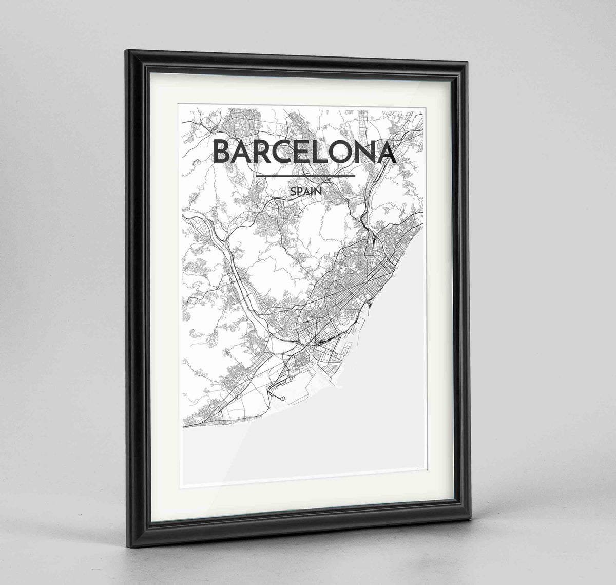 "Framed Barcelona Map Art Print 24x36"" Traditional Black frame Point Two Design Group"
