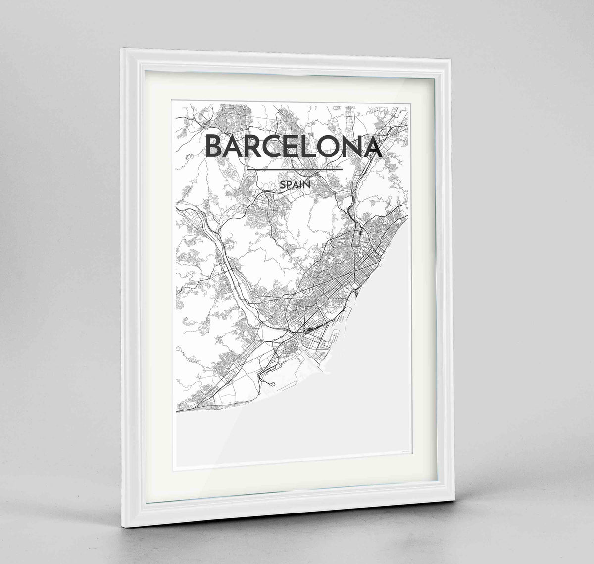"Framed Barcelona Map Art Print 24x36"" Traditional White frame Point Two Design Group"