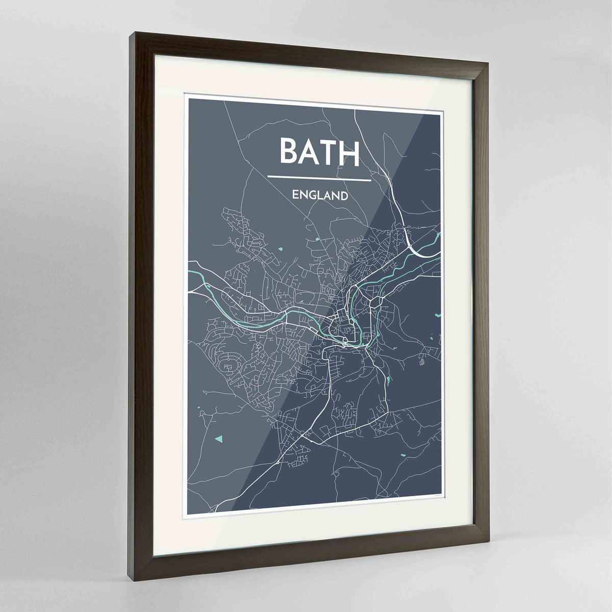 "Framed Bath Map Art Print 24x36"" Contemporary Walnut frame Point Two Design Group"