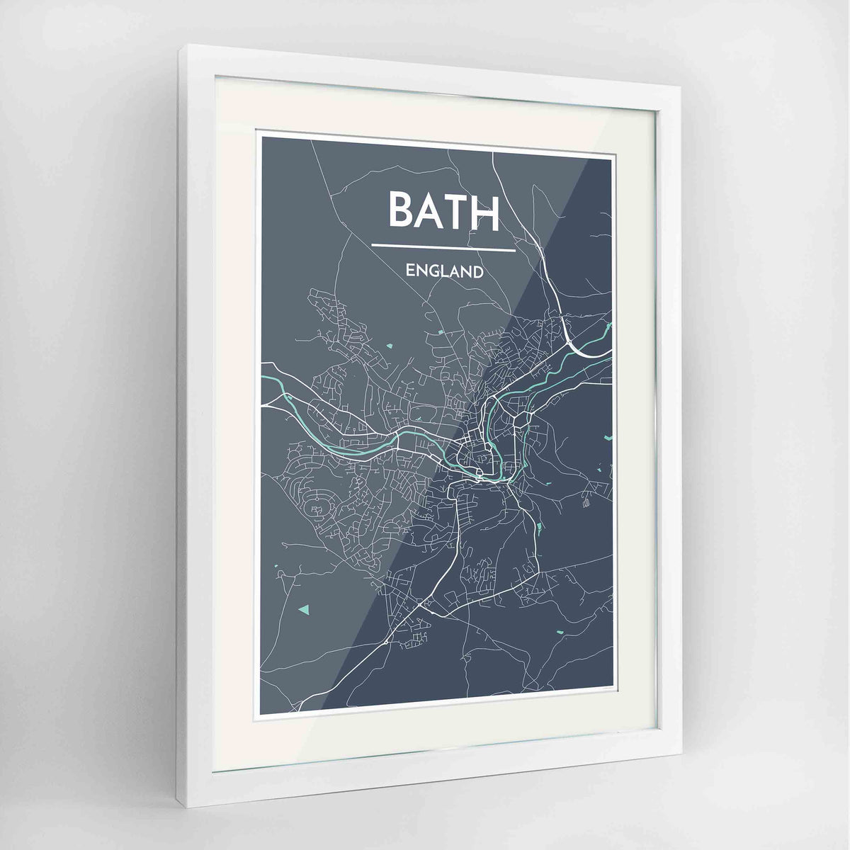 "Framed Bath Map Art Print 24x36"" Contemporary White frame Point Two Design Group"