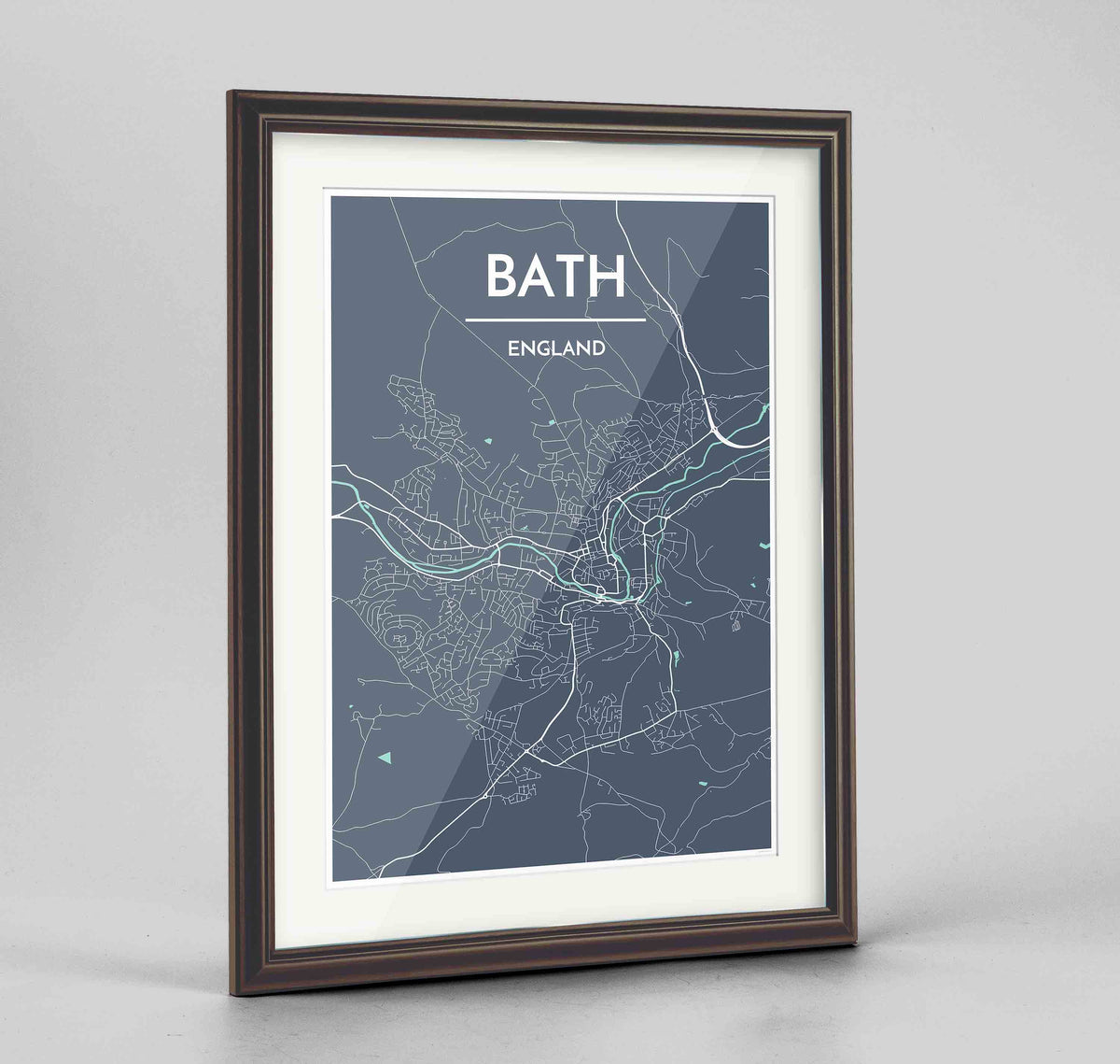 "Framed Bath Map Art Print 24x36"" Traditional Walnut frame Point Two Design Group"