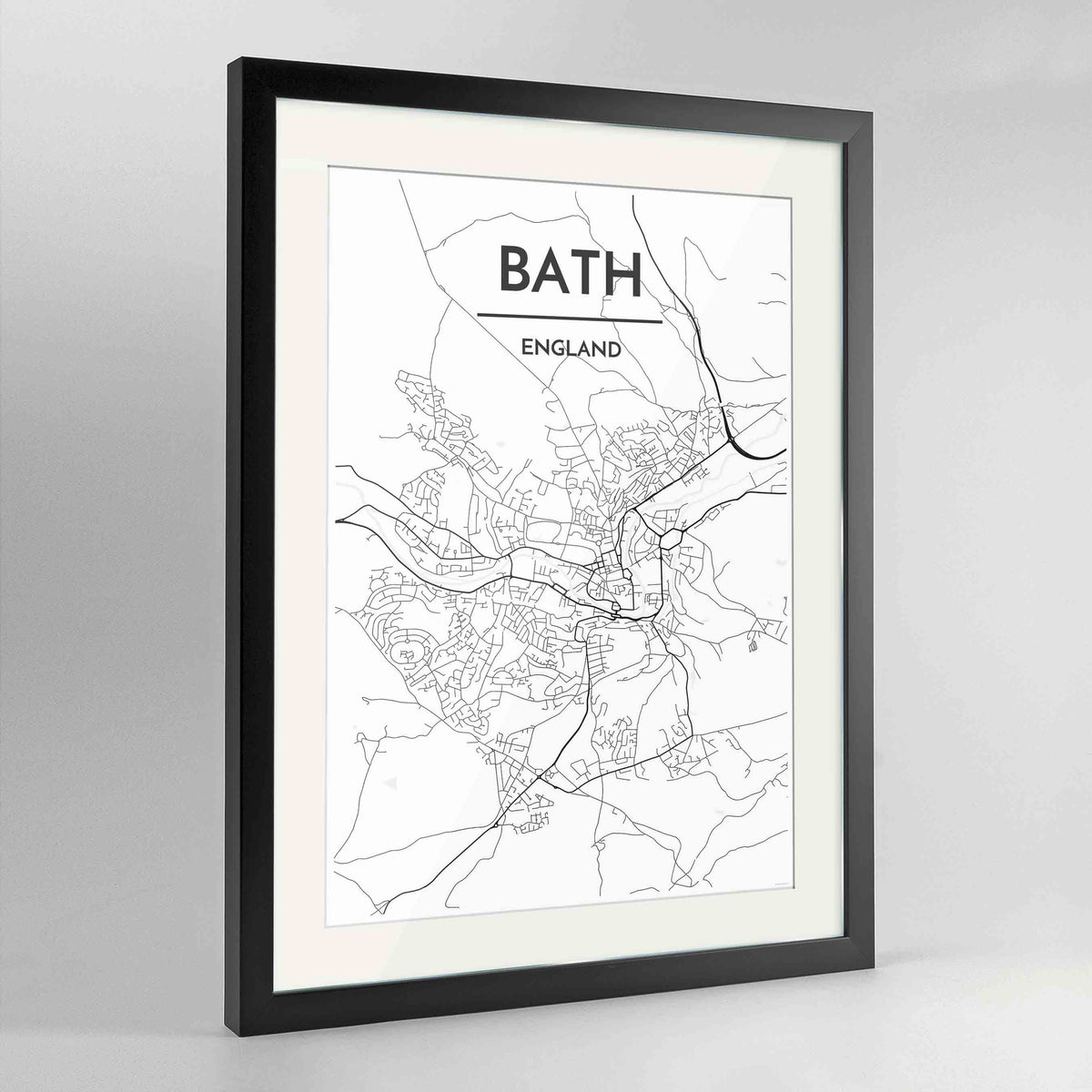 "Framed Bath Map Art Print 24x36"" Contemporary Black frame Point Two Design Group"