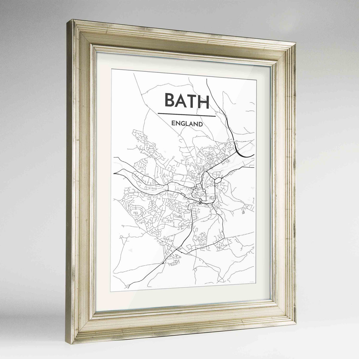 "Framed Bath Map Art Print 24x36"" Champagne frame Point Two Design Group"