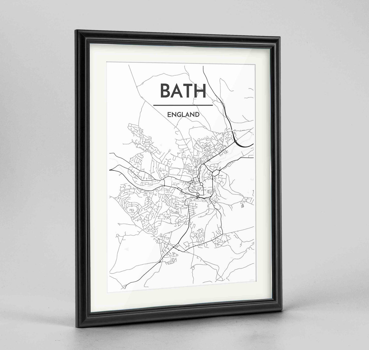 "Framed Bath Map Art Print 24x36"" Traditional Black frame Point Two Design Group"