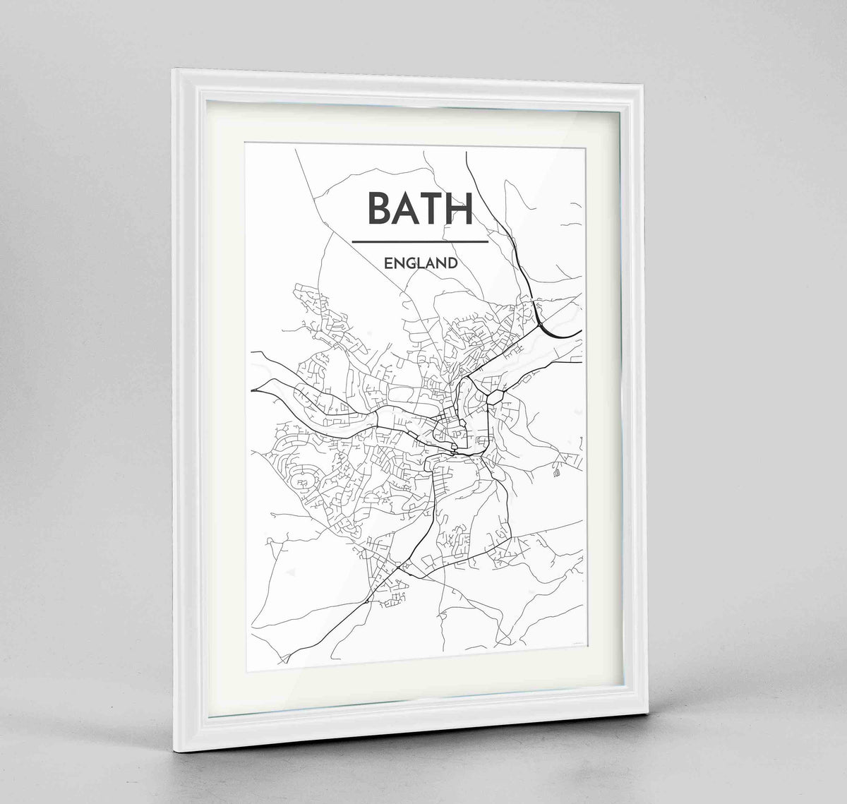 "Framed Bath Map Art Print 24x36"" Traditional White frame Point Two Design Group"
