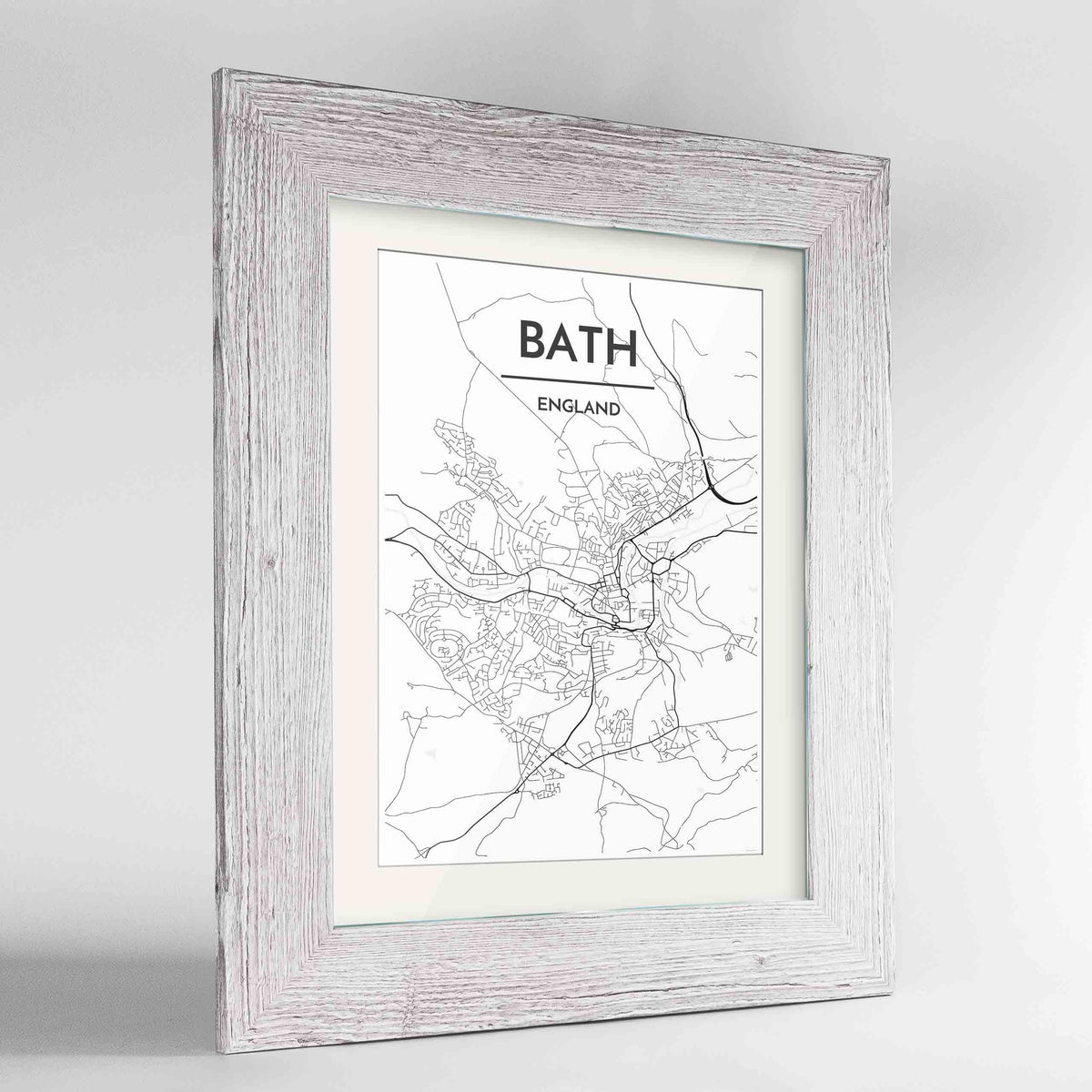 "Framed Bath Map Art Print 24x36"" Western White frame Point Two Design Group"