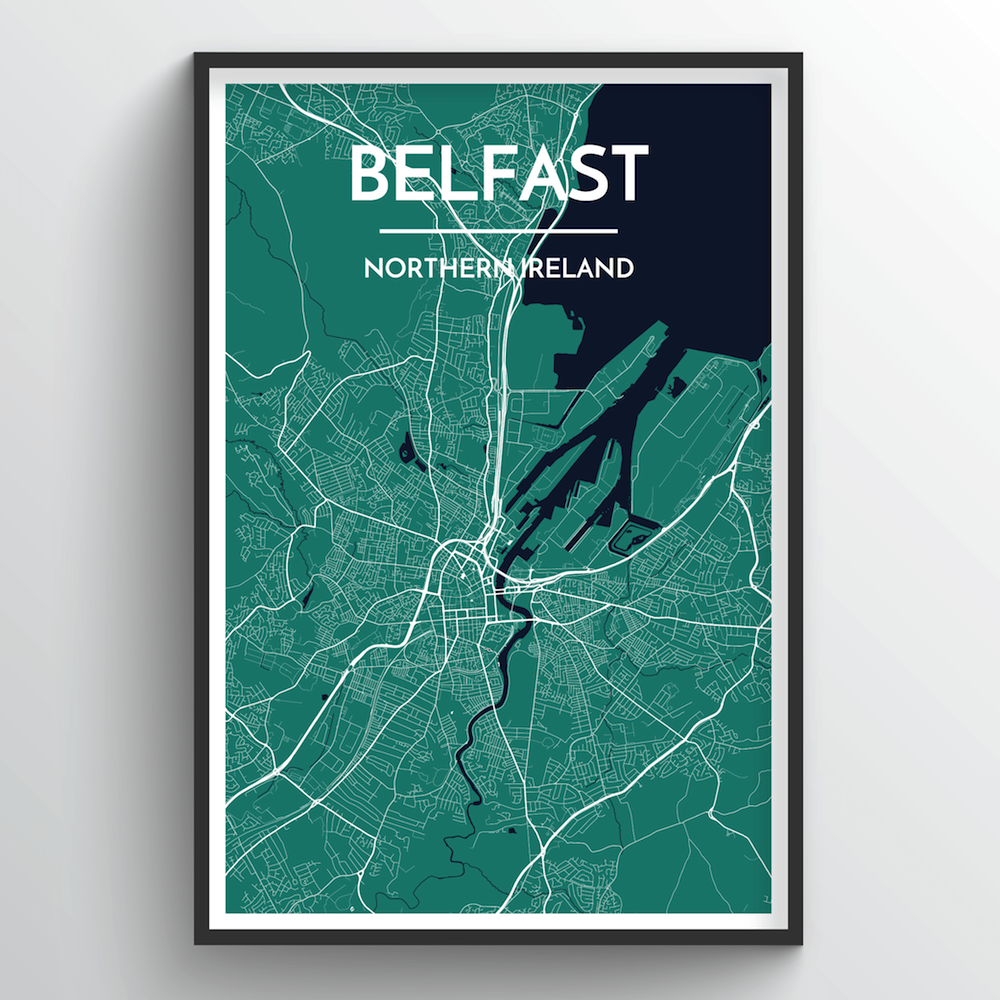 Belfast map art print point two design