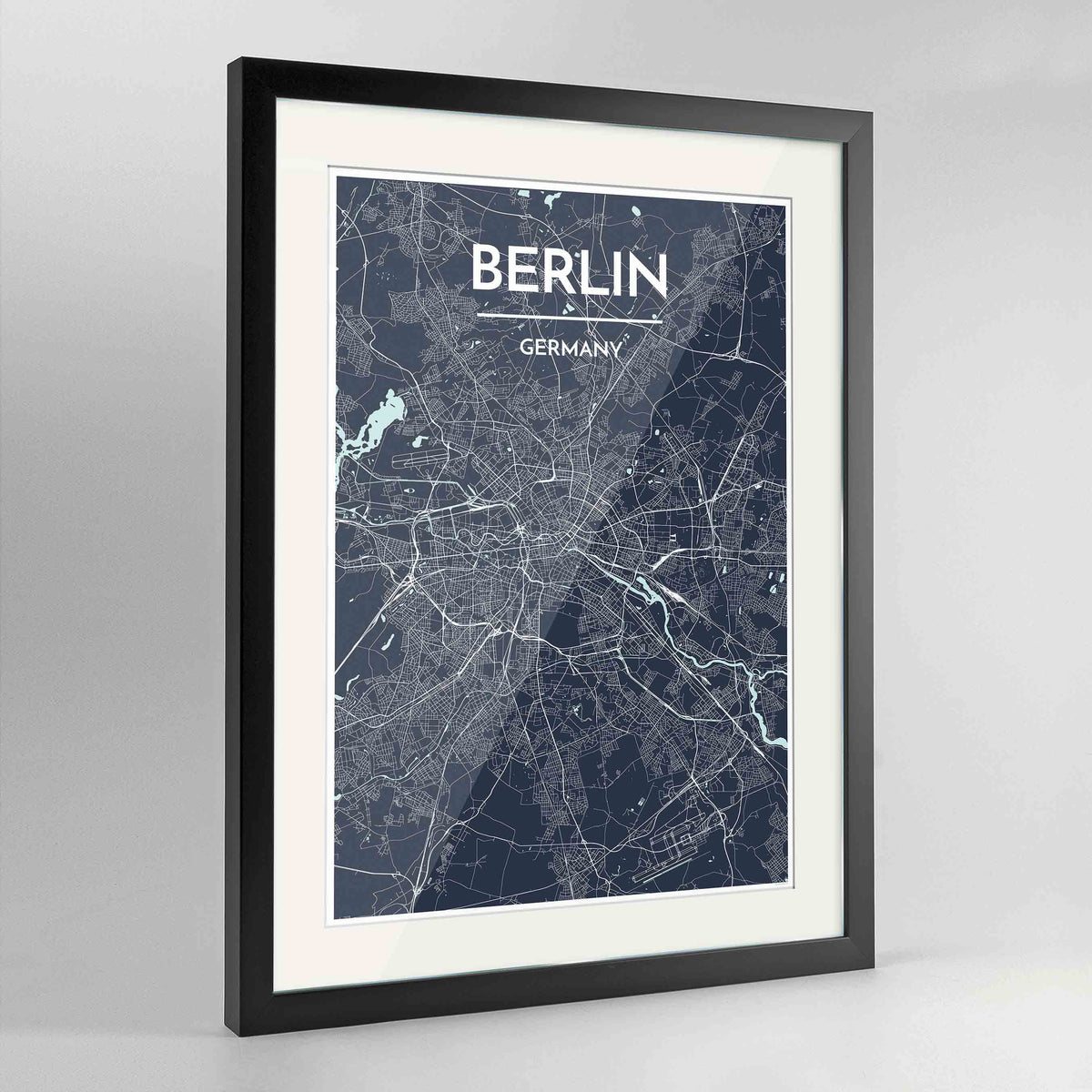 "Framed Berlin Map Art Print 24x36"" Contemporary Black frame Point Two Design Group"