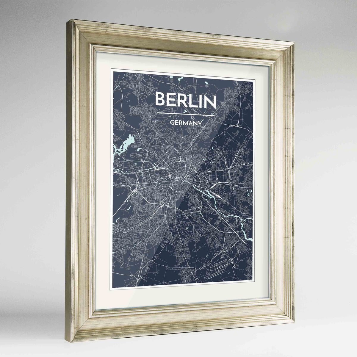 "Framed Berlin Map Art Print 24x36"" Champagne frame Point Two Design Group"