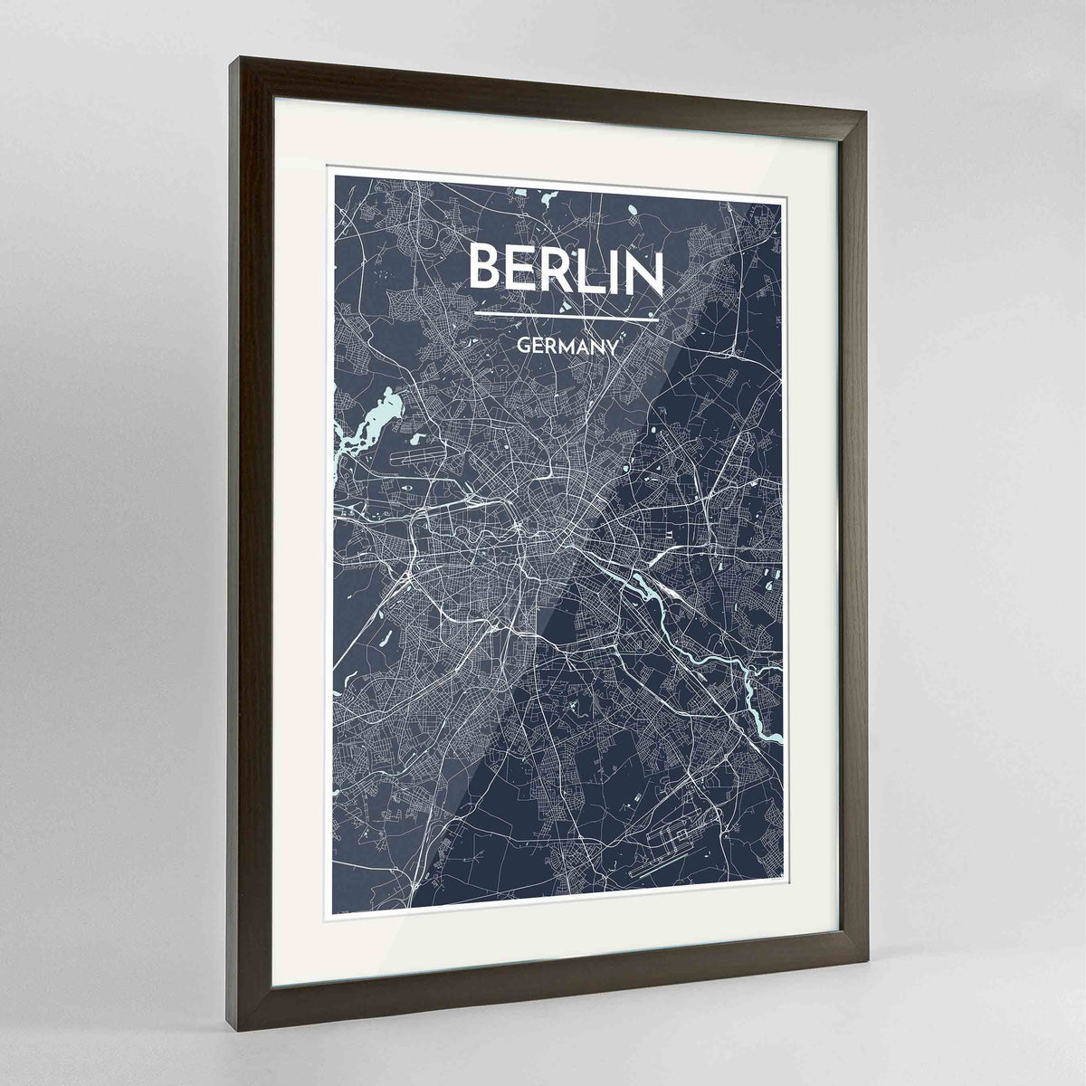 "Framed Berlin Map Art Print 24x36"" Contemporary Walnut frame Point Two Design Group"