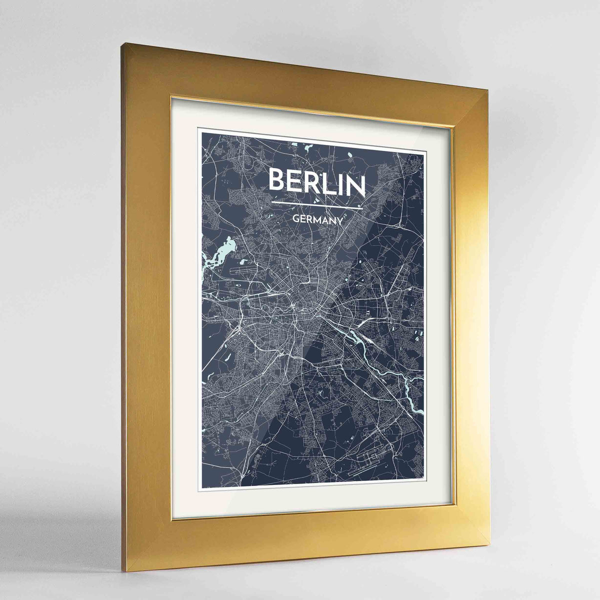 "Framed Berlin Map Art Print 24x36"" Gold frame Point Two Design Group"