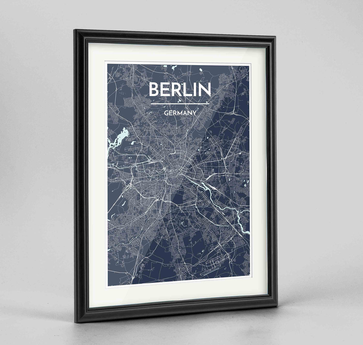 "Framed Berlin Map Art Print 24x36"" Traditional Black frame Point Two Design Group"