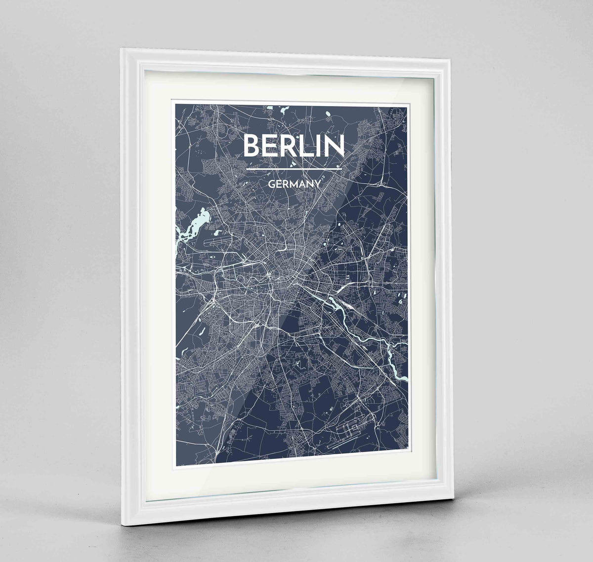 "Framed Berlin Map Art Print 24x36"" Traditional White frame Point Two Design Group"