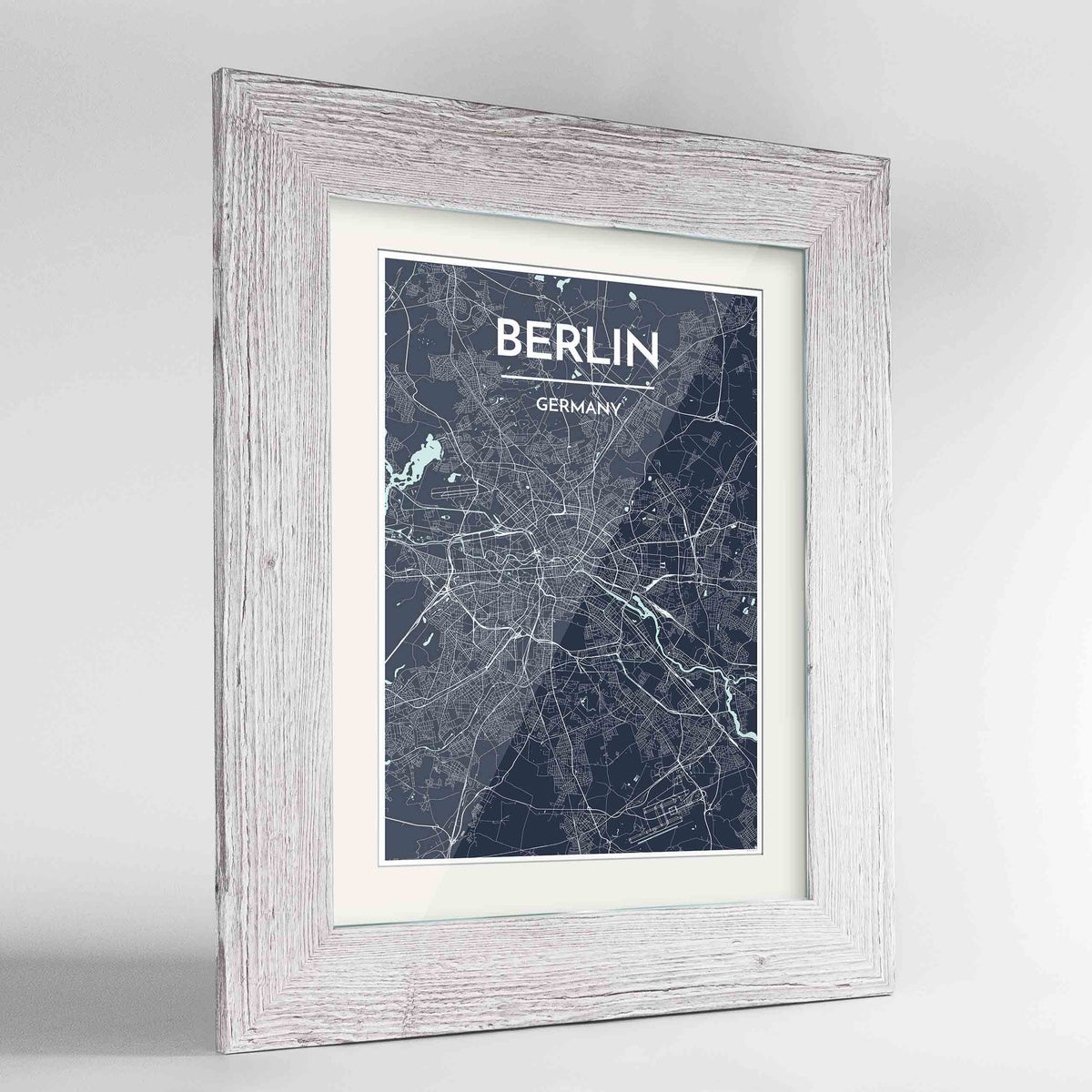 "Framed Berlin Map Art Print 24x36"" Western White frame Point Two Design Group"